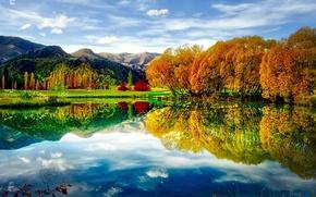 Wallpaper colors, autumn, lake, reflection