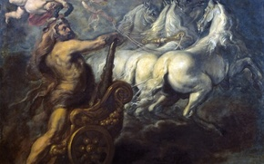 Picture chariot, angel, picture, horse, mythology, Jean Baptiste Borrekens, The Apotheosis Of Hercules