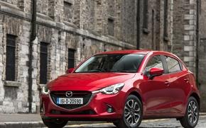 Picture road, red, facade, Mazda, Mazda2