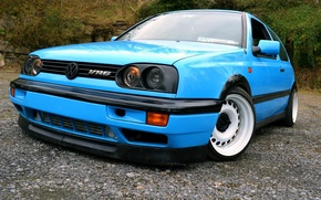 Picture volkswagen, golf, blue, tuning, germany, low, r32, stance, mk3, vr6