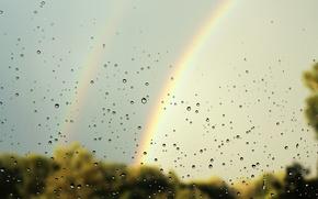 Picture summer, water drops on glass, double rainbow, rain mushroom