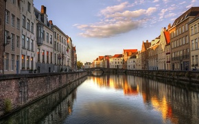 Picture bridge, home, the evening, channel, Belgium, Bruges, West-Flanders
