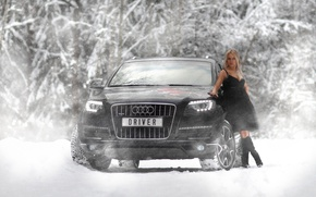 Picture winter, auto, Audi, Girls, blonde girl