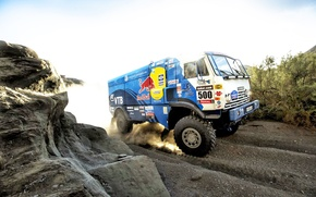 Picture Machine, Truck, 500, 2014, Dust, Kamaz, Speed, Blue, red bull, Rally, Sport, Dakar, KAMAZ, Race