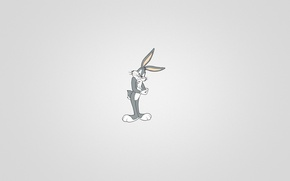 Picture minimalism, rabbit, black background, sitting, Looney Tunes, Bugs Bunny, Bugs Bunny, a beam of light, …