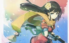 Picture the wind, katana, scarf, samurai, girl, long hair, sheath