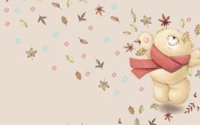 Picture autumn, mood, art, bear, falling leaves, children's, Forever Friends Deckchair bear