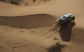 Picture Sand, Auto, Sport, Desert, Green, Machine, Race, Mini Cooper, The view from the top, Rally, ...