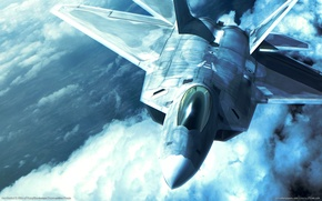Wallpaper the sky, fighter, F-22, Raptor, ace combat x