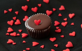 Picture love, heart, food, chocolate, love, cake, dessert, heart, food, sweet, chocolate, cream, dessert, muffins, Cupcakes