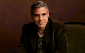 Picture smile, art, chair, male, jacket, artist, George Clooney, sitting, George Clooney