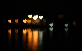 Picture reflection, hearts, bokeh, bokeh effect, the dark background