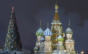 Picture The Kremlin, Christmas, St. Basil's Cathedral, Moscow, Red square, Happy, 2015, New, spruce, Merry, Year, ...