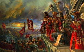 Picture the sky, horizon, fighters, Warhammer 40k, army, generals, banners