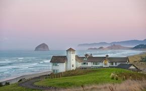 Picture the ocean, shore, Villa, morning