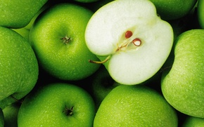 Picture drops, green, apples, food