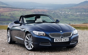 Picture blue, hills, valley, convertible, German, on the rocks, BMW Z4