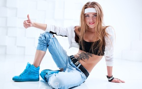 Picture girl, pose, jeans, makeup, tattoo, jacket, hairstyle, finger, blonde, headband, topic, sitting, gesture, on the …