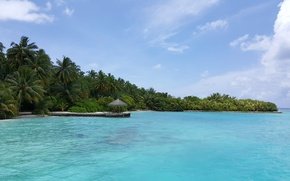 Picture the sky, tropics, palm trees, the ocean, island, white sand, Мaldives