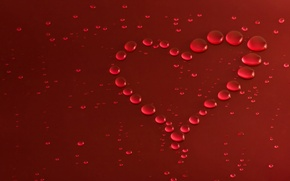Picture drops, macro, love, heart, love, Valentine's day, heart, romantic, valentines day