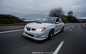 Picture turbo, wheels, subaru, road, japan, wrx, impreza, jdm, tuning, power, speed, sti, low, stance