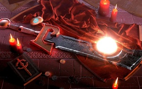 Picture weapons, sword, candles, art, fabric, book, coins, WoW, World of Warcraft, Incinerator, Ashbringer