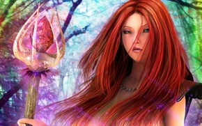 Picture crystal, girl, magic, fantasy, art, staff, red
