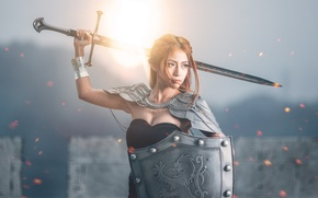 Picture girl, sword, shield