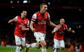 Wallpaper Football, Emirates Stadium, England, Emirates, Arsenal, Arsenal Football Club, Lukas Podolski, Champions League, Lukas Podolski