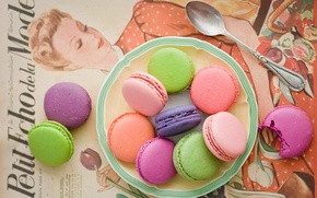 Wallpaper macaron, macaron, cuts, Anna Verdina, colorful, cookies, spoon