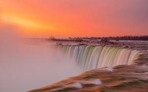 Picture the sky, sunset, river, waterfall, Niagara