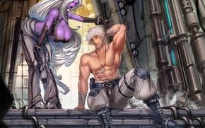 Wallpaper art, guy, night elf, anime, male, girl, chest, elf, muscles, elf