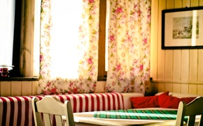 Picture table, room, curtains, curtains, dining room