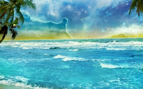 Picture palm trees, art, stars, shore, beach, the ocean, the sky, clouds