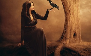 Picture art, hand, face, profile, tree, makeup, Raven, girl, witch, bird, fiction, dress, Jennifer Gelinas