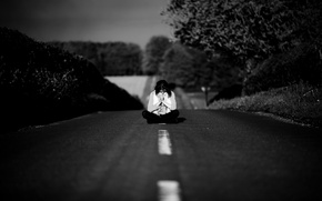 Picture road, sadness, girl, trees, the way, loneliness, mood, meditation, black and white, Olivia bell