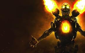 Wallpaper Monster, Gun, Bethesda, id Software, Bethesda Softworks, Fire, Skull, DooM