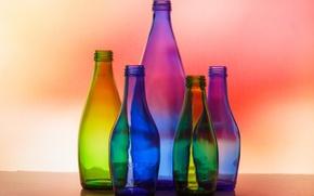 Picture glass, macro, light, bottle, colors