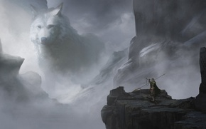 Picture fog, fiction, rocks, wolf, art, wolf