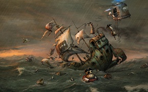 Picture sea, storm, ship, robot, art, pirates, helicopter