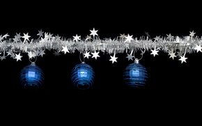 Picture blue, holiday, black, balls, new year, Christmas, silver, stars, christmas, new year, tinsel