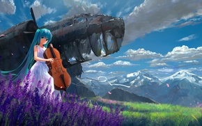 Picture the sky, girl, clouds, flowers, mountains, nature, the plane, anime, art, cello, vocaloid, hatsune miku, …