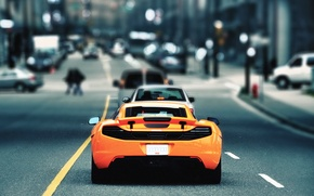 Picture road, the city, McLaren, MP4-12C, razmytost