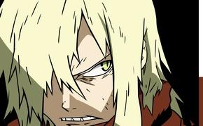Picture anime, art, blonde hair, Gurren Lagann, COO-Gurren Lagann, evil eye