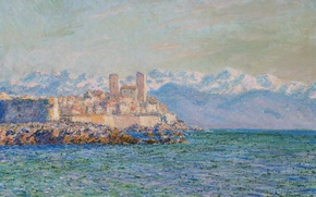 Picture sea, landscape, mountains, picture, Claude Monet, The old Fort in Antibes