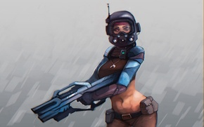 Picture girl, weapons, police, helmet, the gun