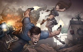 Picture girl, weapons, male, shootout, art, patrick brown