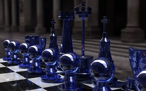 Wallpaper the game, chess, glass, Board, figure, strategy, rendering, black and white, Kjasi, Chess set, blue ...