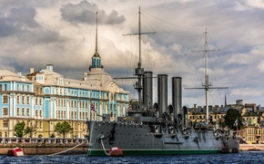 Picture Aurora, the building, Saint Petersburg, Petrogradskaya embankment, Nakhimov naval school, Bolshaya Nevka, Cruiser Aurora, Museum, ...