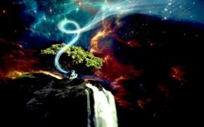 Picture tree, waterfall, vortex